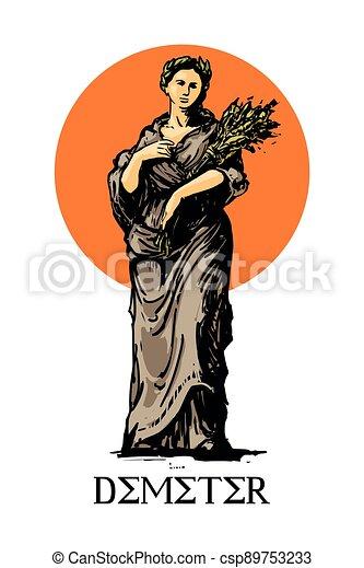 -, demeter, neposkvrněný, sklízet, starobylý, řečtina, náboženství, grafické pozadí, zemědělství, vektor, bohyně, ilustrace - csp89753233