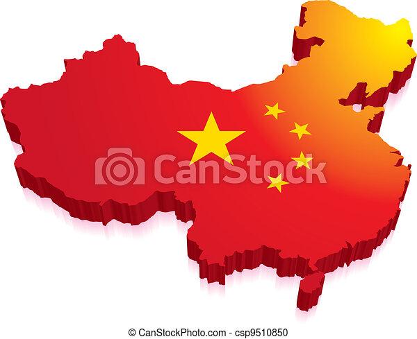 3D mapa porcelánu s vlajkou - csp9510850