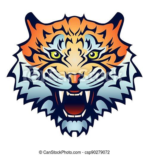 barva, hlavička, ilustrace, -, huba, tesák, nechráněný, tiger, bared, vektor - csp90279072