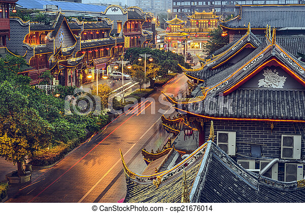 Chengdu, brada na ulici Qintai. - csp21676014