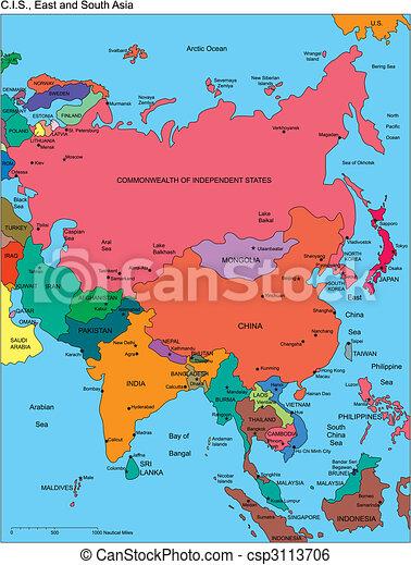 comonwealth, nezávislý, rusko, jména, asie, postavení - csp3113706