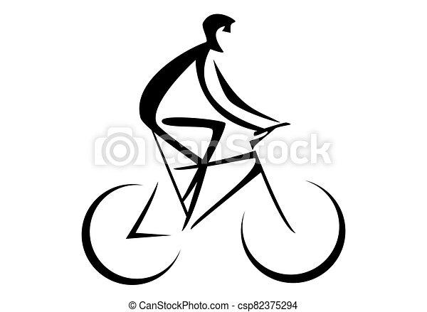 cyklista, (person, bike), jízdní - csp82375294