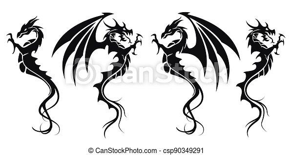 dát, ilustrace, znak, -, čepobití, čerň, drak, drak, vektor, neposkvrněný - csp90349291