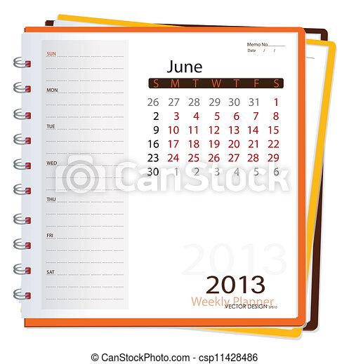 Deník do kalendáře na rok 2013, june. Vektorová ilustrace. - csp11428486