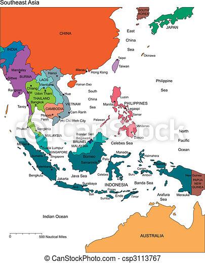 editable, země, jména, asie, jihovýchodní - csp3113767