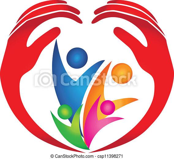 emblém, chráněný, rodina, ruce - csp11398271
