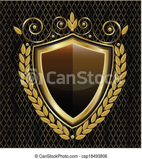 emblém, chránit, zlatý - csp18493806