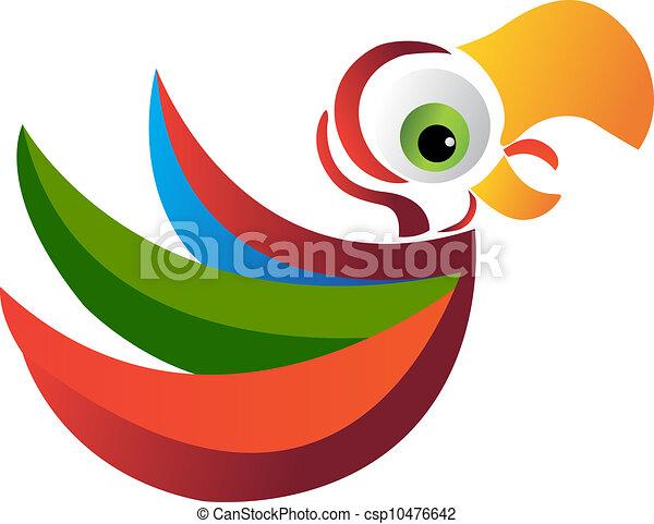 emblém, vektor, papoušek - csp10476642