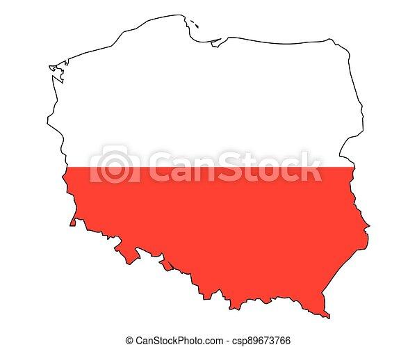 grafické pozadí, -, celostátní mapovat, nárys, polsko, udat, běloba vlaječka, prapor - csp89673766