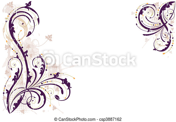 grunge, grafické pozadí, vektor, květinový - csp3887162