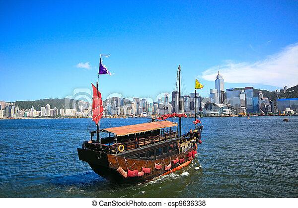 hong, město, plavba, asie, kong, člun - csp9636338