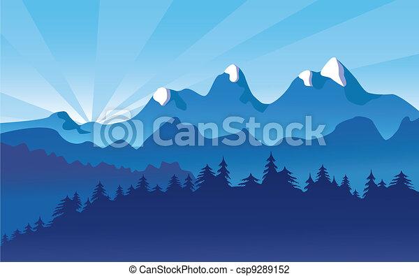 Horská krajina, sníh - csp9289152