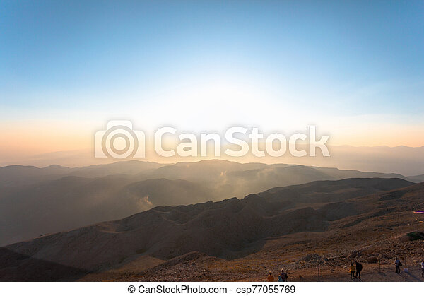 hory, panoráma, sunset. - csp77055769