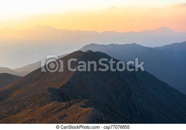 hory, panoráma, sunset. - csp77076855