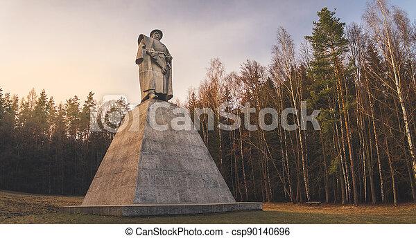 hrdina, leden, kalich, čech, pomník, trocnov, jan, zizka, národnostní, zizka, socha - csp90140696