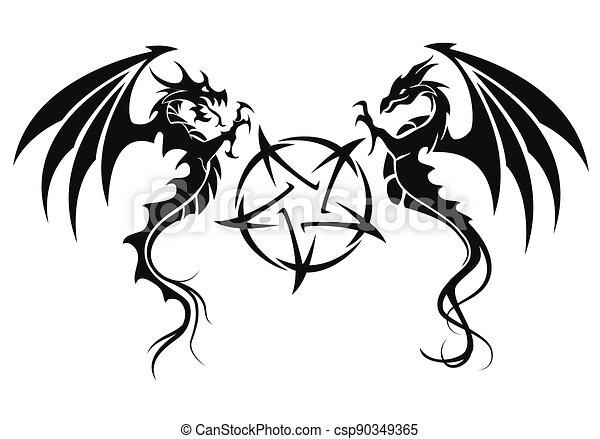 ilustrace, znak, -, čepobití, čerň, pentagram, drak, drak, vektor, neposkvrněný - csp90349365