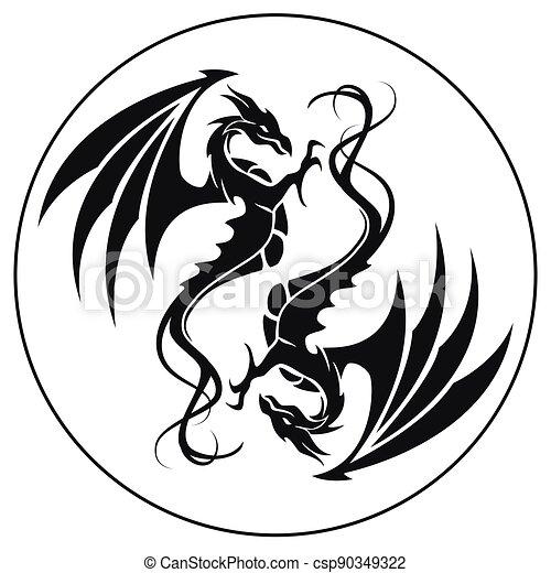 ilustrace, znak, kruh, -, čepobití, čerň, drak, drak, vektor, neposkvrněný - csp90349322