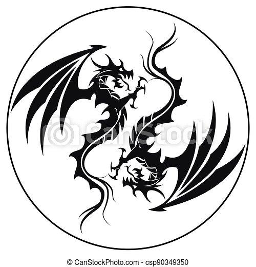 ilustrace, znak, kruh, -, čepobití, čerň, drak, drak, vektor, neposkvrněný - csp90349350