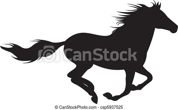 kůň, vektor, silueta - csp5937525