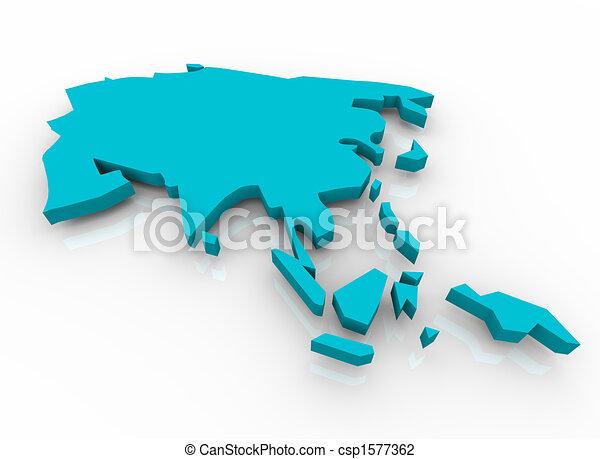 konzervativní, mapa, -, asie - csp1577362