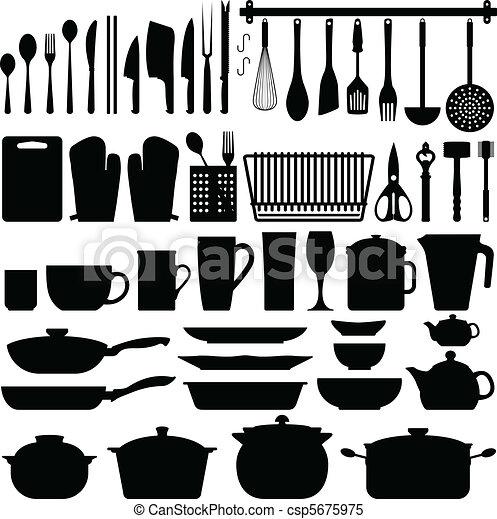 kuchyňská potřeba, vektor, silueta, kuchyně - csp5675975