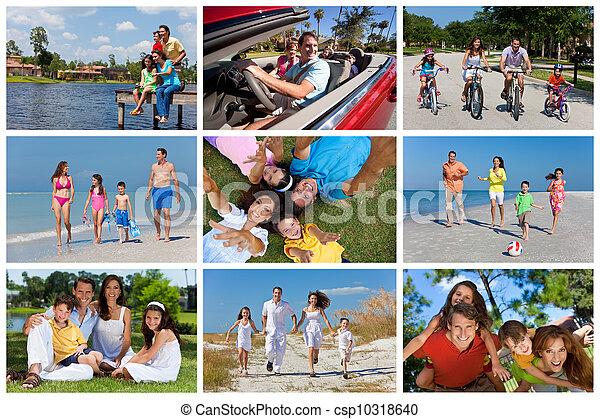 léto, rodina, montáž, prázdniny, mimo, aktivní, šťastný - csp10318640