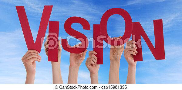 Lidé drží vidění - csp15981335