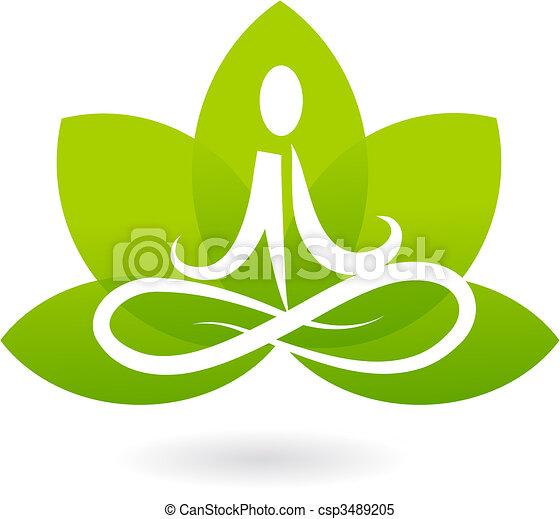 lotus, emblém, jóga, /, ikona - csp3489205