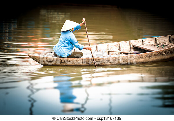 manželka, dřevěný, asia., vietnam, řeka jet parníkem - csp13167139