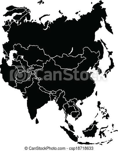 mapa, asie - csp18718633