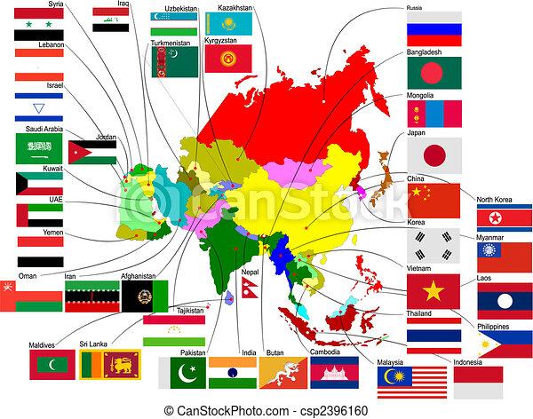 mapa, země, ilustrace, vektor, asie, flags. - csp2396160