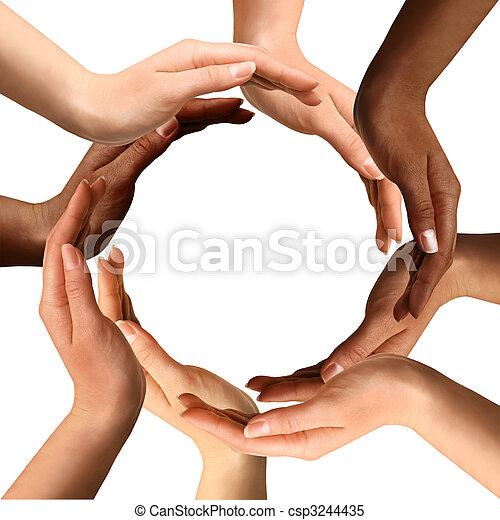 Multirakální ruce dělají kruh - csp3244435