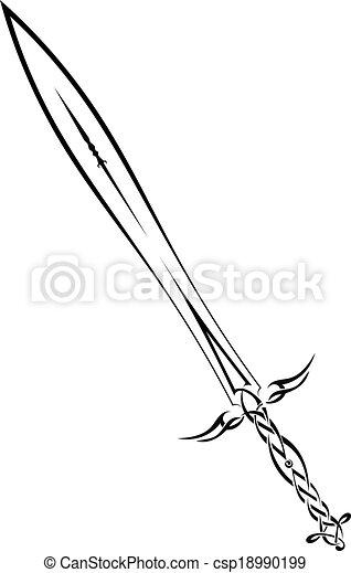 neposkvrněný, temný grafické pozadí, meč - csp18990199
