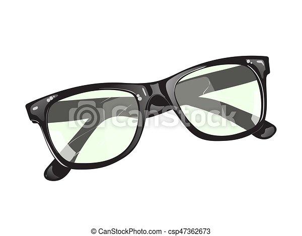 neposkvrněný, temný grafické pozadí, brýle - csp47362673