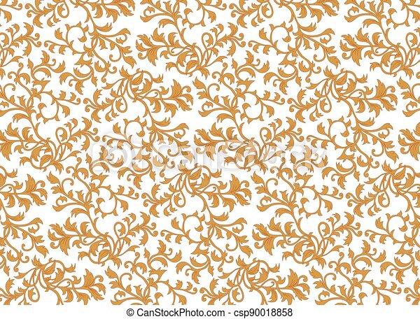 okrasa, grafické pozadí, ozdobný, tapeta, vektor, květinový, tkanivo - csp90018858