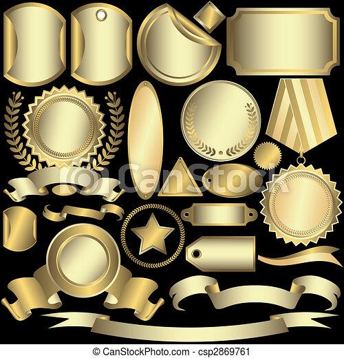 opatřit nápisem, zlatý, (vector), dát, stříbřitý - csp2869761