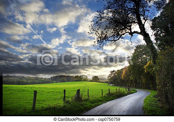podzim, země cesta - csp0750759