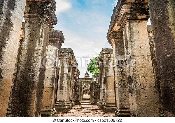 prasat, phimai, nakhon, ratchasima, dějinný, věž, provincie, hin - csp21506722