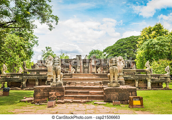 prasat, phimai, nakhon, ratchasima, dějinný, věž, provincie, hin - csp21506663