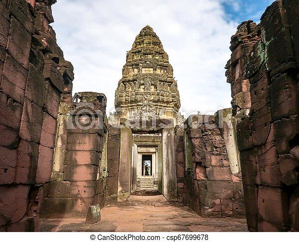 ratchasima, phimai, nakhon, sad, (prasat, historický, thajsko, hin, pimai) - csp67699678