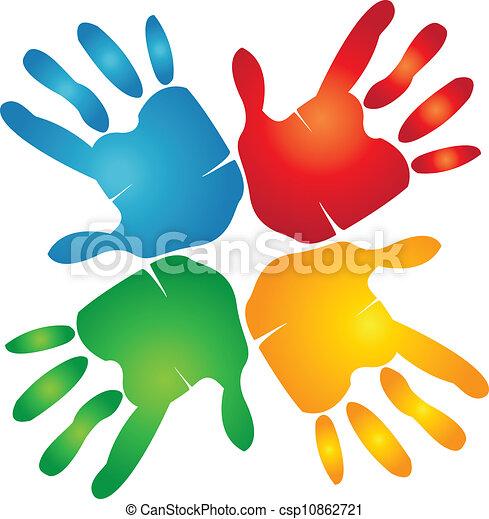 ruce, barvitý, kolektivní práce, emblém, dokola - csp10862721