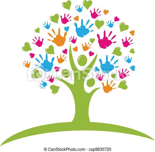 ruce, herce, strom, znak - csp9830720