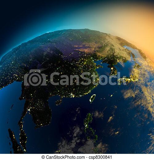satellite ohledat, asie, večer - csp8300841