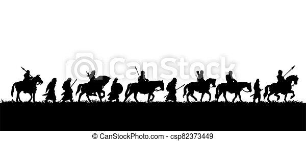 skupina, válečníci, silueta, středověký, expedice - csp82373449