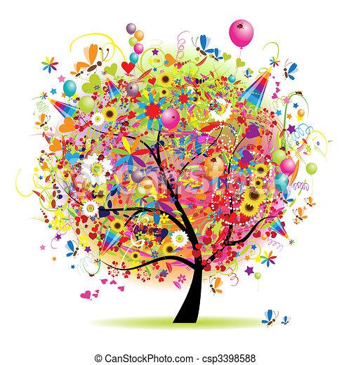 strom, šťastný, dovolená, komický, obláček - csp3398588