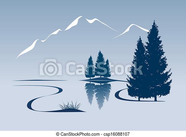 Stylovaná ilustrace ukazuje řeku a horskou krajinu - csp16088107