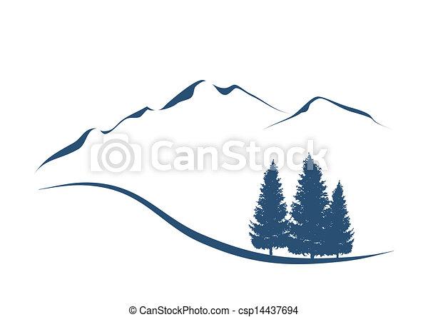 Stylovaná ilustrace ukazuje alpinskou krajinu s horami - csp14437694