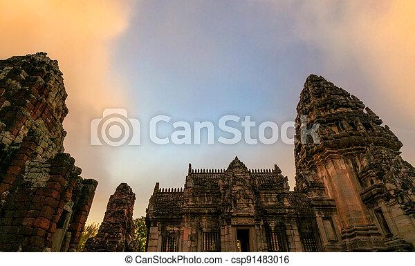 thailand., ancient., konzervativní, sky., poloha, travel., klasický, nakhon, pohybovat se, phimai, starobylý, historický, destinations., mezník, architecture., khmer, stavení., asie, sad, chrám, ratchasima, dějinný - csp91483016