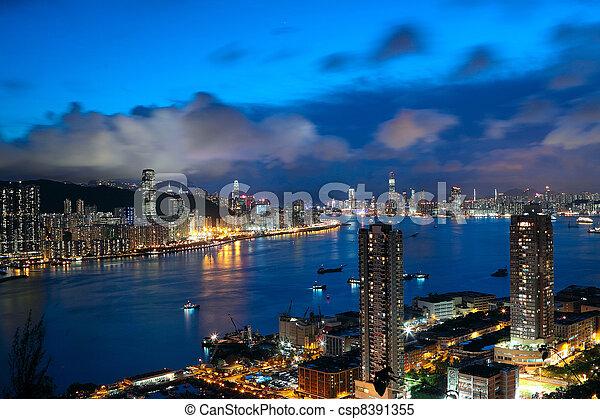 večer, hong, moderní, město, asie, kong - csp8391355