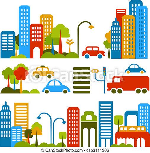 vektor, šikovný, ulice, ilustrace, město - csp3111306